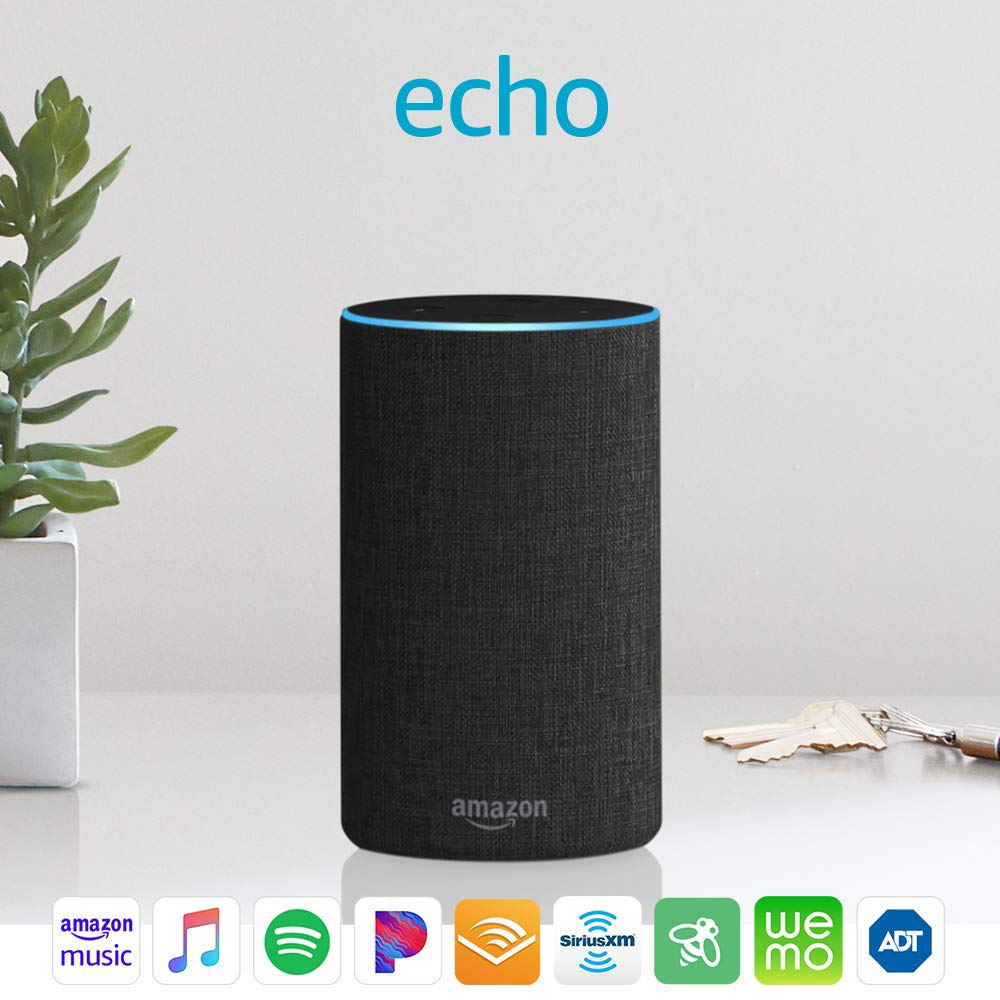 Echo (2nd Generation) - Smart speaker with Alexa - Charcoal /Gray Fabric, Fabric
