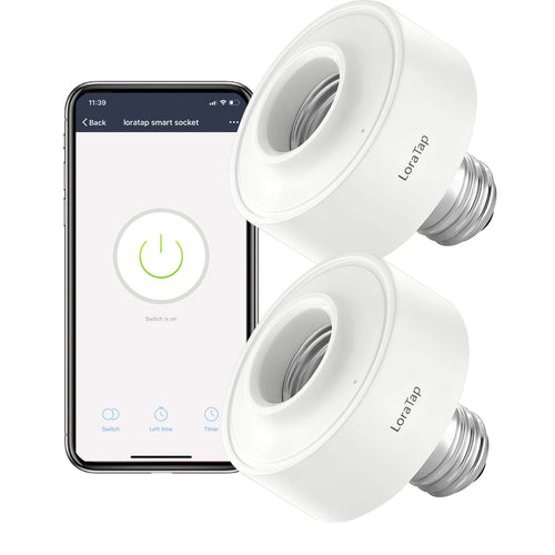 LoraTap Smart WiFi Bulb Socket E26 2 Pack Wi-Fi LED Light Lamp Timer Holder...