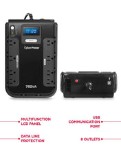 Load image into Gallery viewer, CyberPower CP750LCD Intelligent LCD UPS System, 750VA/420W, 8 Outlets,...