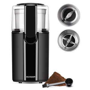 SHARDOR Coffee & Spice Grinders Electric, 2 Removable Stainless CG628B, black
