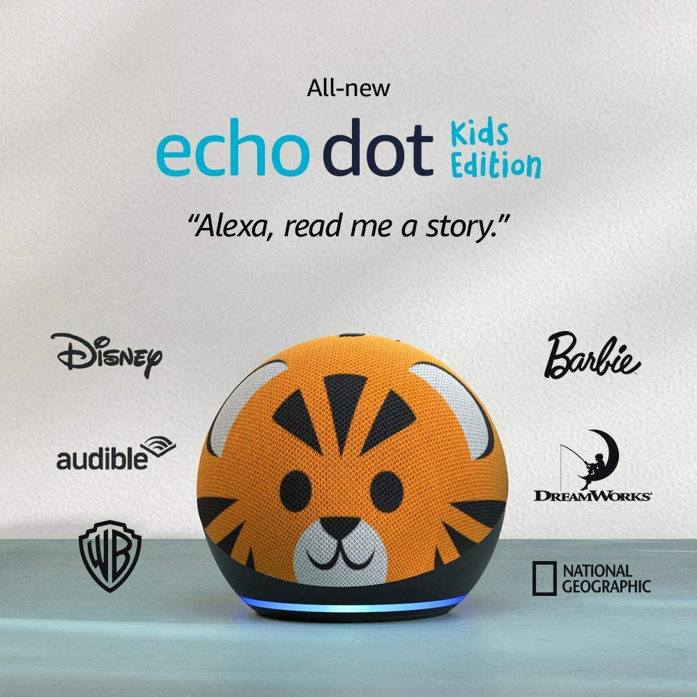 All-new Echo Dot (4th Gen) Kids Edition | Designed for kids, with Tiger