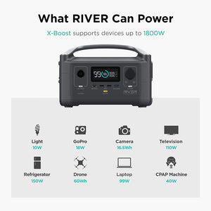EF ECOFLOW Portable Power Station RIVER, 288Wh Backup Lithium S-RIVER 600