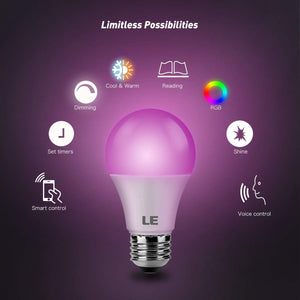 LE LampUX WiFi Smart Light Bulbs Works with Alexa, Google Assistant, IFTTT,...