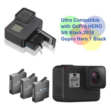 Load image into Gallery viewer, Artman GoPro Hero 5/6/7 1480mah Replacement Batteries (3 Pack) and 3-Channel...