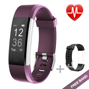 Lintelek Fitness Tracker with Heart Rate Monitor, Violet + Replacement band