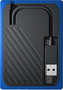WD - My Passport Go 500GB External USB 3.0 Portable Black With Cobalt Trim