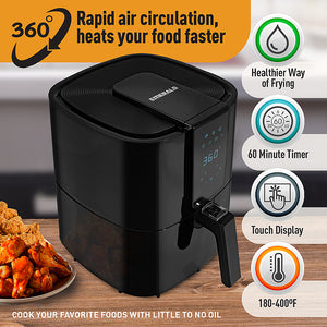 Emerald - 5.2L Digital Air Fryer - Black