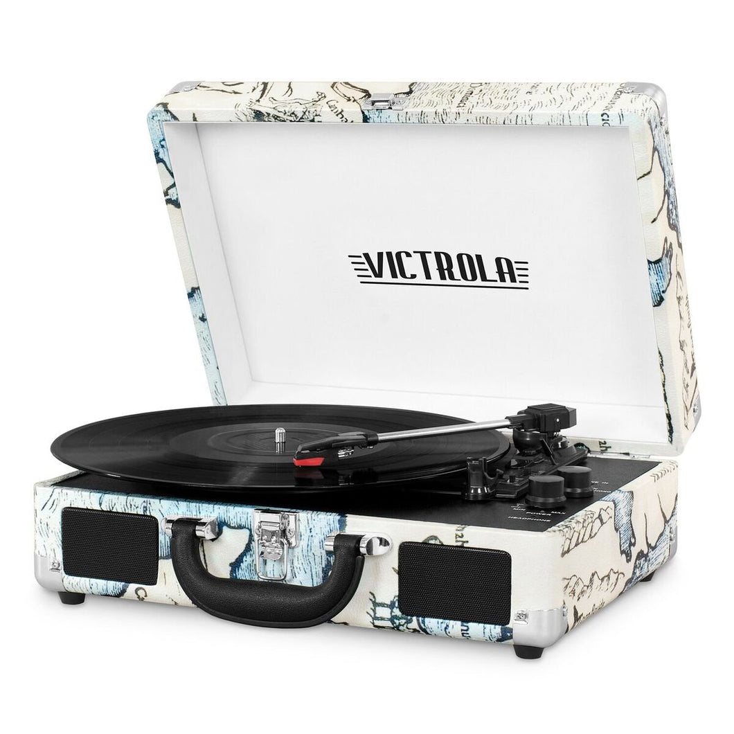 Victrola Vintage 3-Speed Bluetooth Suitcase Turntable with 1SFA, Retro Map