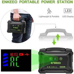 ENKEEO Portable Power Station 222W, Charger Camping CPAP Black