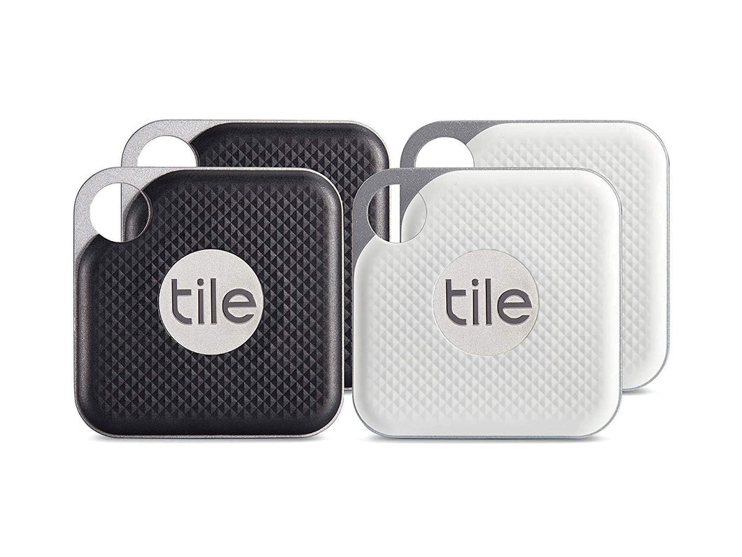 Tile Pro with Replaceable Battery - 4 pack (2 x Black, Combo - Black & White