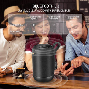 Bluetooth Speakers 5.0, 20W Portable Speaker with Deep Bass, IPX56 Black