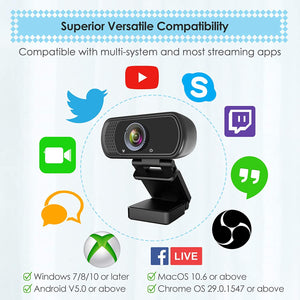 Webcam HD 1080p Web Camera, USB PC Computer with Microphone, Laptop...