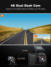 Load image into Gallery viewer, Kingslim D4 4K Dual Dash Cam with Built-in Wi-Fi GPS, Front 4K/2.5K Rear...