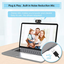 Load image into Gallery viewer, Webcam HD 1080p Web Camera, USB PC Computer with Microphone, Laptop...
