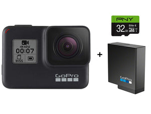 GoPro HERO7 Black Camera + Extra Rechargeable Battery + 32GB SD Card Bundle