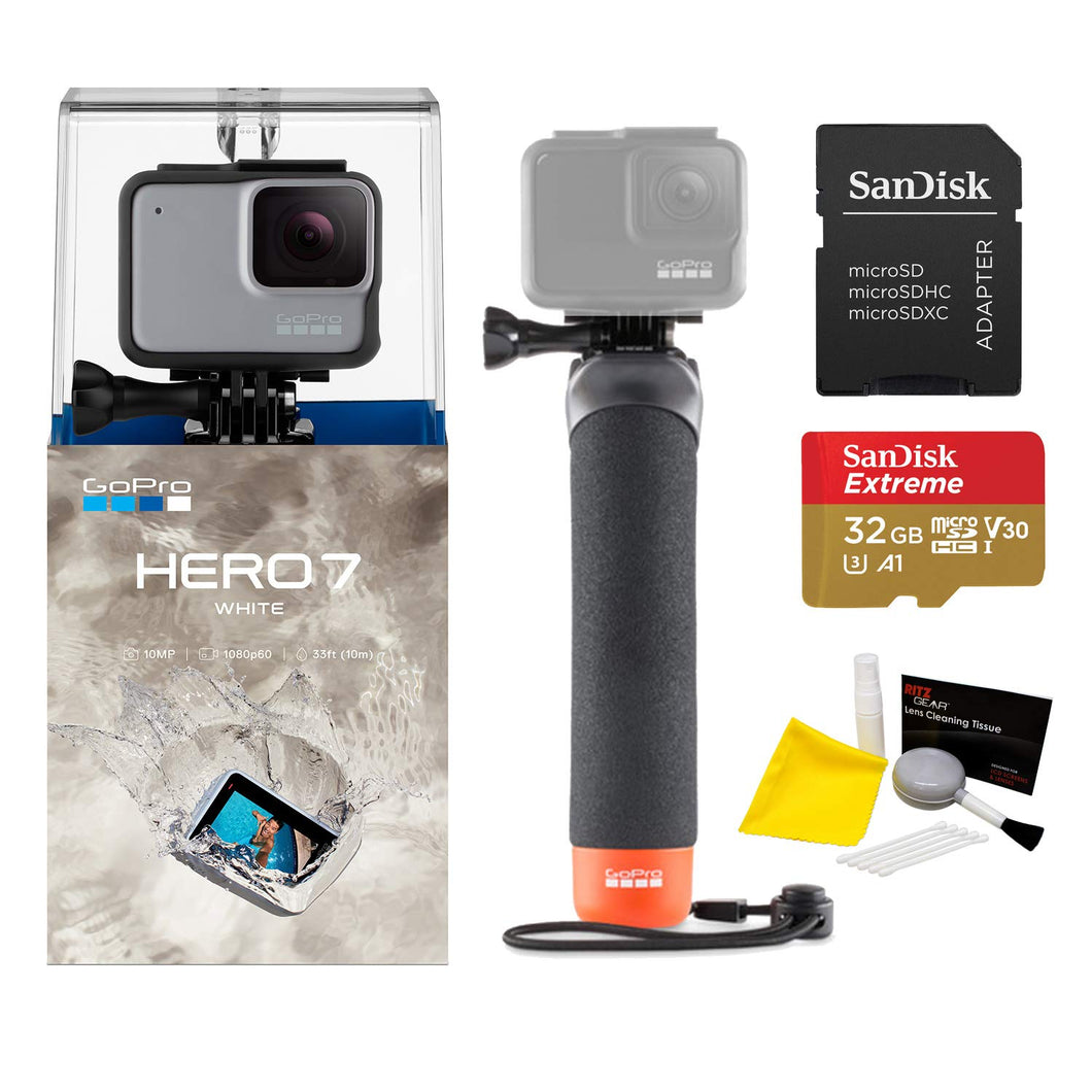 GoPro Hero7 White Bundle with Float Handle, Sandisk 32GB MicroSDHC Memory...