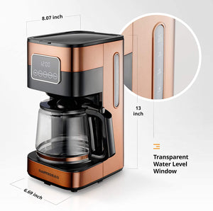 Gastrorag 10-Cup Drip Coffee Maker - Programmable Machine with Copper