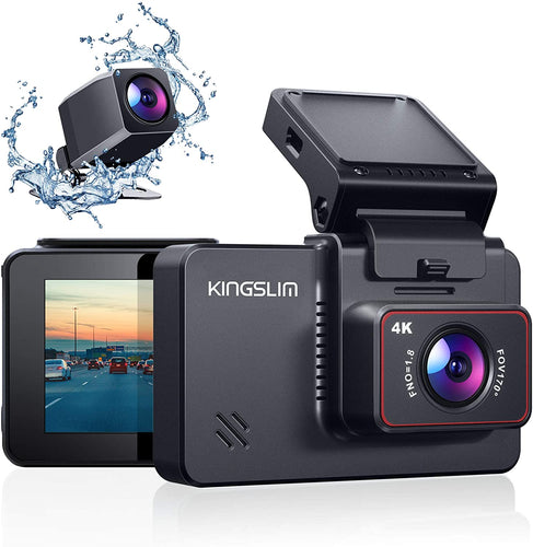 Kingslim D4 4K Dual Dash Cam with Built-in Wi-Fi GPS, Front 4K/2.5K Rear...