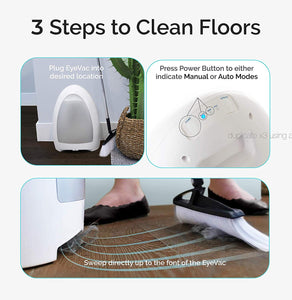 EyeVac Home - Touchless Stationary Vacuum, Dual High Efficiency White