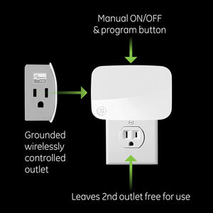 GE Enbrighten Z-Wave Plus Smart Plug, 1 Grounded Outlet, On/Off Switch for...