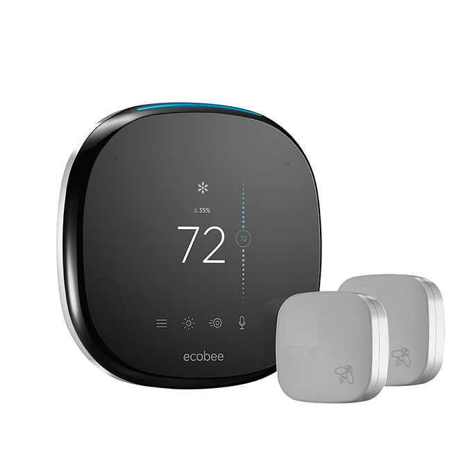 ecobee 4 Smart Thermostat with 2 Room Sensors