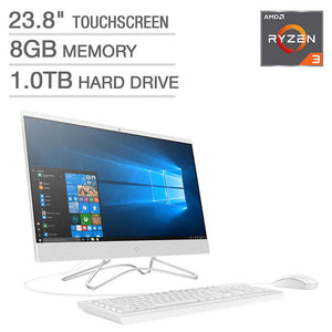 "HP 23.8"" Touchscreen All-in-One Desktop - AMD Ryzen 3 - 1080p"