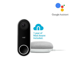 Nest Hello Video Doorbell with One-Year Aware Subscription and Google Home Mini