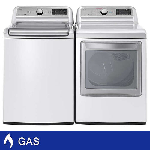 LG 5.2 cu. ft. Top Load Washer with TurboWash and 7.3 GAS Dryer with...