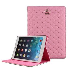 Load image into Gallery viewer, For apple iPad Air 2 Luxury Crown Grid PU Leather Cover For ipad 6/Air 2 Wake Up Sleep Smart Stand Full Body Bag Tablet Case