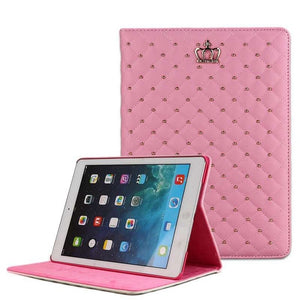 For apple iPad Air 2 Luxury Crown Grid PU Leather Cover For ipad 6/Air 2 Wake Up Sleep Smart Stand Full Body Bag Tablet Case
