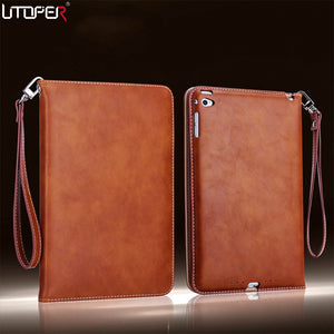 Mini 4 Retro Briefcase Hand Belt Holder Leather Case For Apple ipad Mini4 IV Auto Wake Up /Sleep Smart Stand Flip Bags Cover