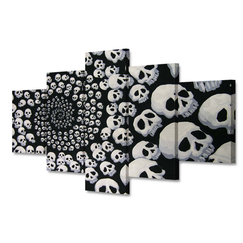 5 Panel Framed Skull Spiral Modern Décor Canvas Wall Art HD Print