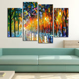 4 Panel Colorful Abstract Tree Lined Street Modern Decor Canvas Wall Art HD Print