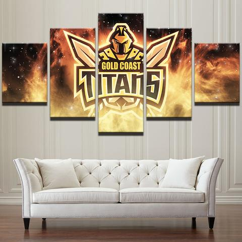 5 Panel Gold Coast Titans Logo Modern Décor Canvas Wall Art HD Print.