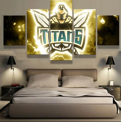 5 Panel Gold Coast Titans Modern Décor Canvas Wall Art HD Print.