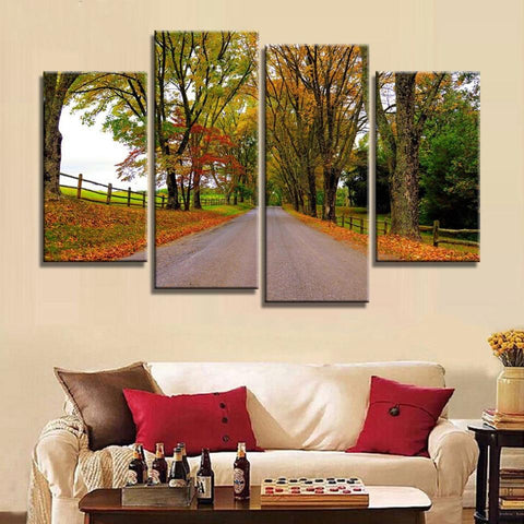 4 Panel Tree Lined Country Road Modern Decor Canvas Wall Art HD Print