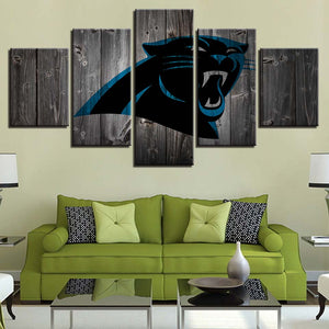 5 Panel Carolina Panthers Modern Décor Canvas Wall Art HD Print.