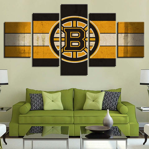 5 Panel Boston Bruins Modern Décor Canvas Wall Art HD Print.