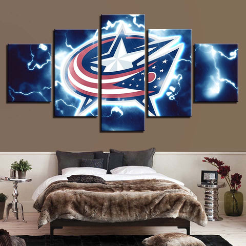 5 Panel Columbus Blue Jackets Modern Décor Canvas Wall Art HD Print.