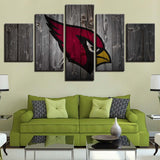 5 Panel Framed Arizona Cardinals Logo Modern Décor Canvas Wall Art HD Print.