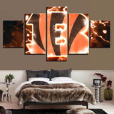 5 Panel Cincinnati Bengals Logo Modern Décor Canvas Wall Art HD Print.