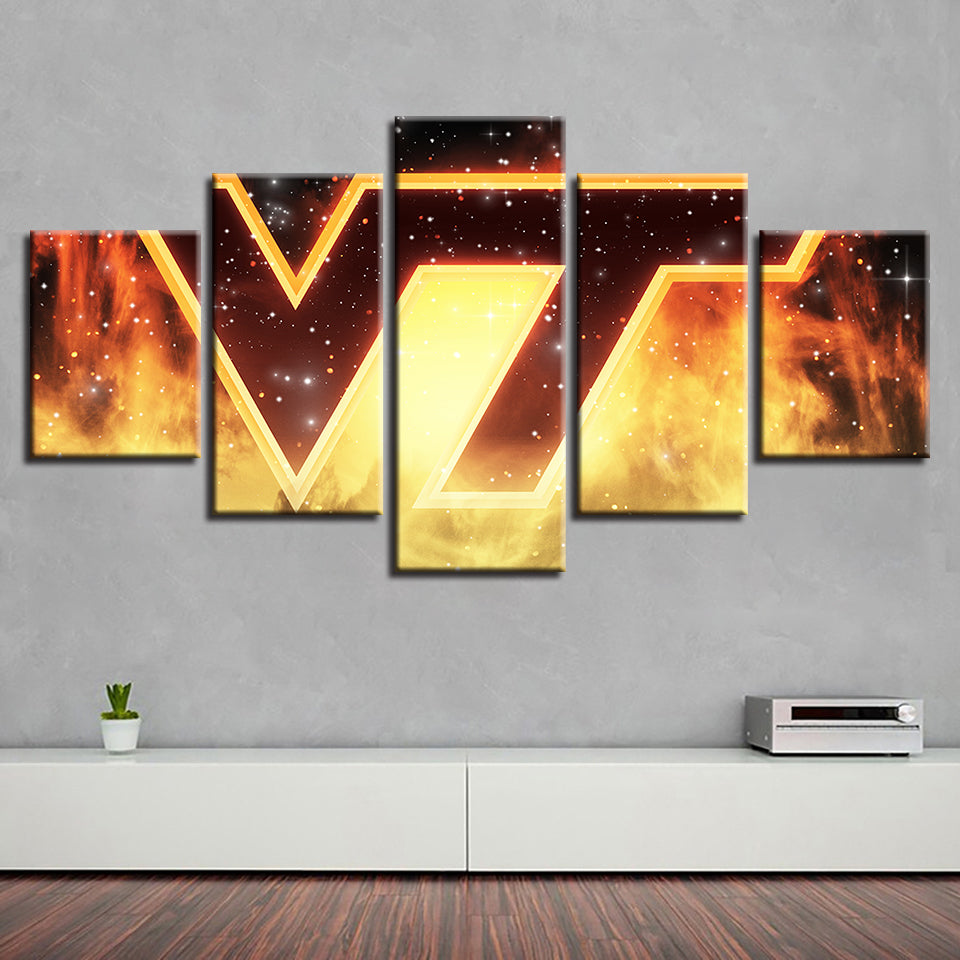 5 Panel Virginia Tech Hokies Modern Décor Canvas Wall Art HD Print.