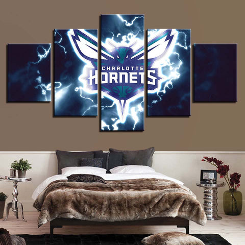 5 Panel Charlotte Hornets Modern Décor Canvas Wall Art HD Print.