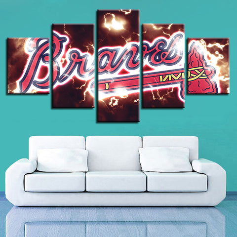 5 Panel Atlanta Braves Décor Canvas Wall Art HD Print.