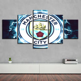 5 Panel Manchester City Décor Canvas Wall Art HD Print.