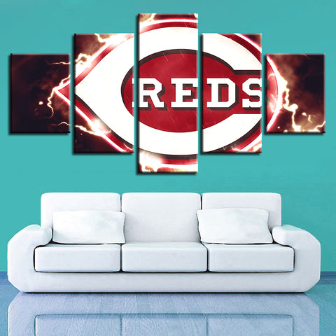 5 Panel Cincinnati Reds Décor Canvas Wall Art HD Print.