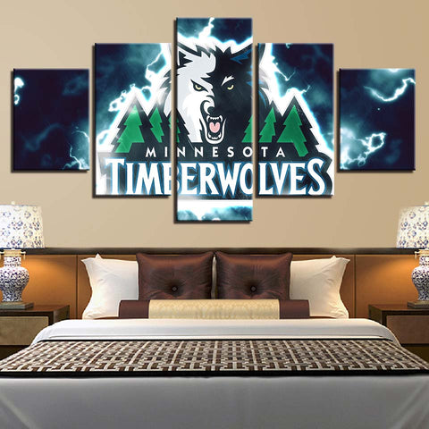 5 Panel Minnesota Timberwolves Modern Décor Canvas Wall Art HD Print.