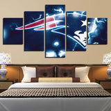 5 Panel New England Patriots Team Modern Décor Canvas Wall Art HD Print.