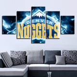 5 Panel Denver Nuggets Décor Canvas Wall Art HD Print.