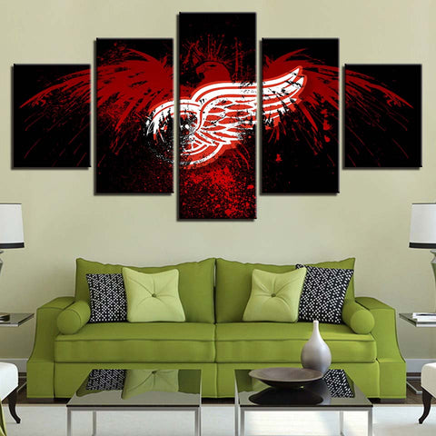 5 Panel Detroit Red Wings Modern Décor Canvas Wall Art HD Print.